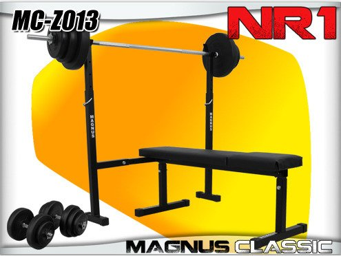 Bench + weights and barbell to the gym by MAGNUS MC-Z013