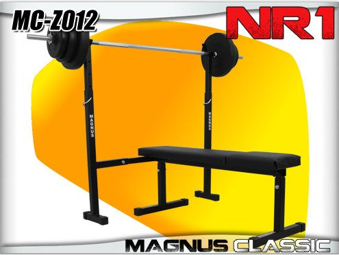 Equipment: Exercise Bench + bar, barbells by MAGNUS MC-Z012